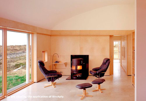 Birchply, birch plywood used in family room